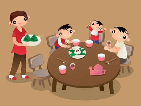 Eine Familie aus Hongkong genießt ihre Familienzeit und teilt Reisknödel beim Chinese Dragon Festival Vektorgrafik