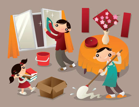 A family cleans their home thoroughly before new year. It is a tradition of Chinese people to welcome new year coming. Ilustração