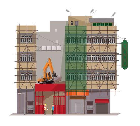 Illustration of some Hong Kong Buildings are under dismantlement and renovation