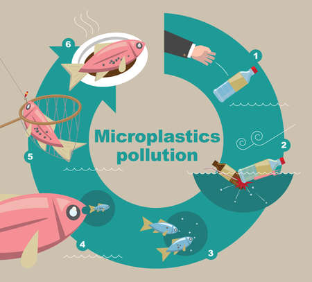 Illustrative diagram of how Microplastics pollute the environment Ilustração