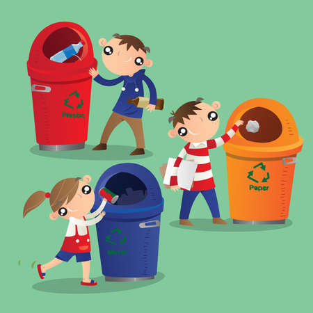 Children recycling plastic, paper and metal Banco de Imagens - 125369693