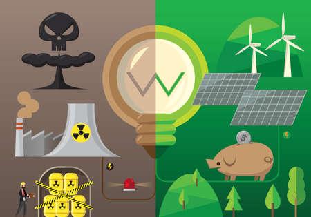 L'infographie de l'énergie nucléaire se compare à l'énergie verte Vecteurs