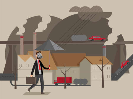 Illustration of a man wears mask to pass through an area in heavy air pollution Иллюстрация