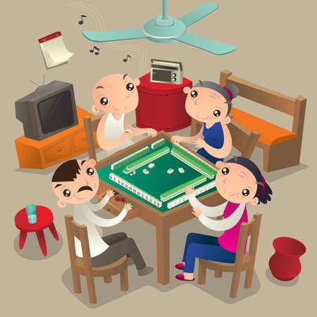 Senioren die mahjong spelen