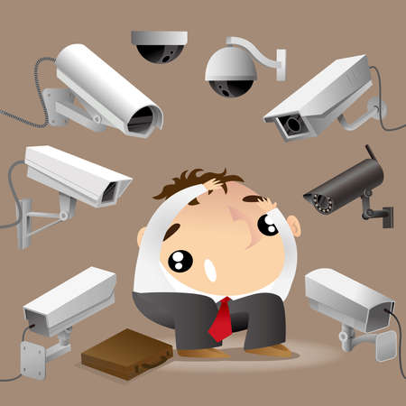A man surrounded by surveillance cameras and feels worrying