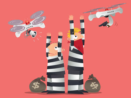 Conceptual illustration of future drone technology. Police uses patrol drone to catch two thieves. Illustration