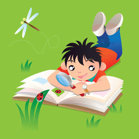 A boy doing his study of ladybug outdoor 일러스트