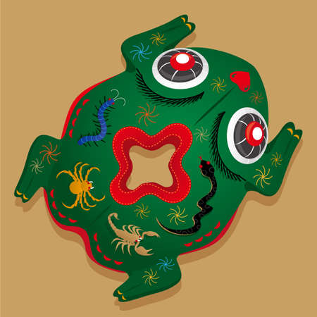 Chinese Five Poison toad-shaped pillow. In Chinese, symbol of Five Poison reptiles is referred as power to counteract pernicious influences and it often used for blessing children with a good health.  イラスト・ベクター素材