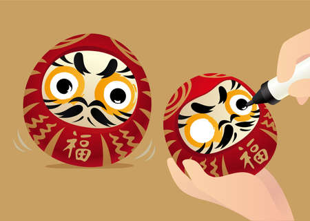 Japanese tumbler, daruma, a traditional lucky doll in Japan. People paint left eye while making wish, paint right eye after wish fulfilled.