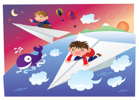 Dream of ridding on a paper plane and flying into the sky Illustration