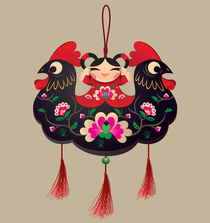 Chinese Double-head Rooster sachet bunting