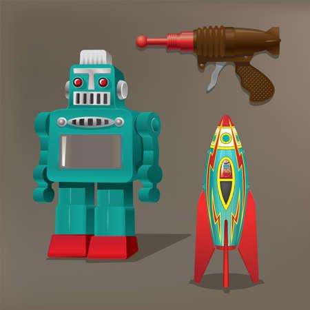 Nostalgic toys: Robot, spaceship and laser gun