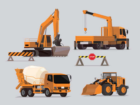 Vector set of construction vehicles