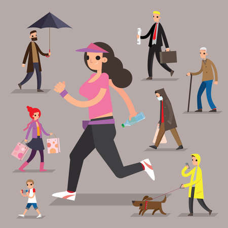 A set of graphic people of pedestrians