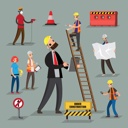 A set of graphic people of construction workers