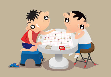 Cartoon illustration of two kids playing traditional Chinese chess