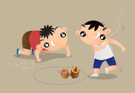 Cartoon illustration of two Hong Kong kids playing traditional spinning top game