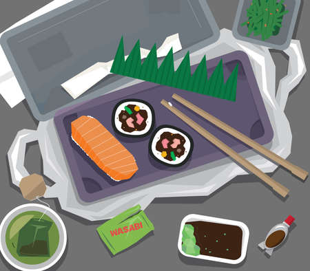 Single-use waste generated after a take-away sushi meal
