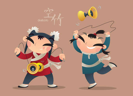 Cartoon illustration of Chinese kids playing diabolo