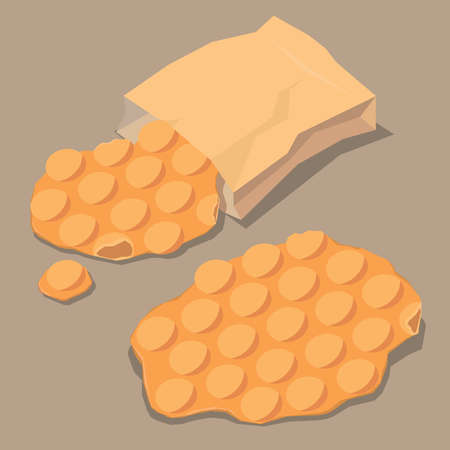 Vector illustration of Hong Kong traditional street snack - egg waffle