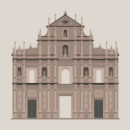 Vector graphic of The Ruins of Saint Paul's, one of the best known landmark in Macau. Vettoriali