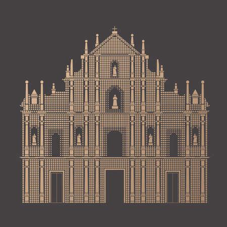 Pixel vector of Ruins of St. Paul, Macau