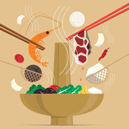Graphic illustration of a Chinese hot pot meal