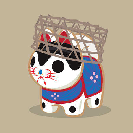 Cartoon illustration of a Japanese folk toy - paper craft dog doll (Inu Hariko) carrying with a bamboo basket. A symbol of a charm of happiness.