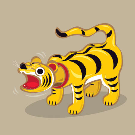 Cartoon illustration of a Japanese folk toy - Head wiggling paper craft tiger (Tora Hariko). It is believed to bring good fortune to children with conveying health and strength. Çizim