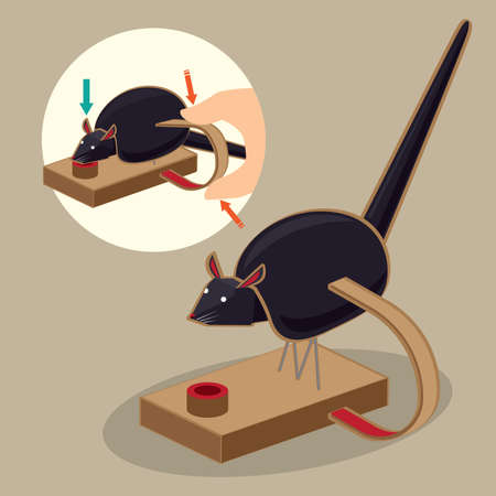 Illustration of a traditional Japanese folk toy - rice-eating rat gadget