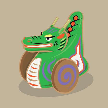 Cartoon illustration of a traditional Japanese folk toy - Dragon on wheels (Tatsu-guruma) Çizim