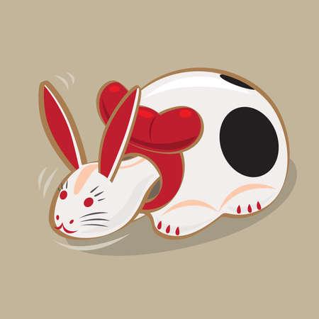 Cartoon illustration of a traditional Japanese folk toy - wiggling head paper craft rabbit (Nakaminato Hariko) originated in Ibaraki prefecture. Çizim