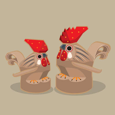 Cartoon Illustration of a traditional Japanese folk toy - a pair of wood carving chicken female and male (Sasano carving chicken)