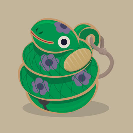 Cartoon illustration of a traditional Japanese folk toy - clay doll bell snake, originated in Sano, Tochigi Prefecture Çizim