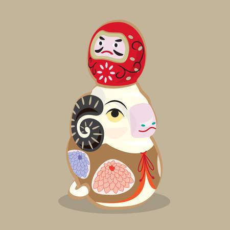 Cartoon illustration of a traditional Japanese folk toy - Clay figurine goat with a Daruma doll on top Çizim