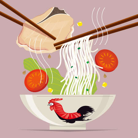 Graphic illustration of a meal of typical Hong Kong-style rice noodles with pork chop