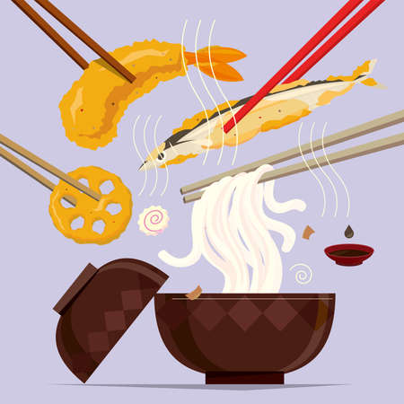 Vector illustration of a meal of Japanese tempura and udon noodles