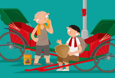 Cartoon illustration of two rickshaw coolies taking a rest. Pulled rickshaws is one of the most popular mode of transportation in old Hong Kong.
