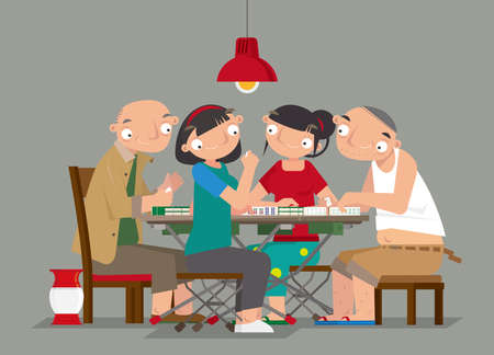 Cartoon illustration of people playing Chinese Mahjong game 矢量图像
