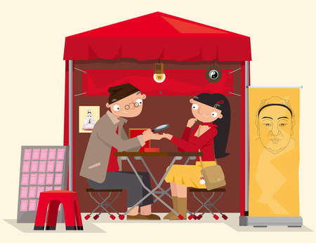 Cartoon illustration of a roadside Chinese fortune teller in Hong Kong