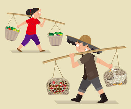 Cartoon illustration of asian people  carry a bamboo pole to lug loads up in the old times.