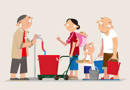 Cartoon illustration of Hong Kong people queue for getting some fresh water in the days of water rationing during drought period in the past.