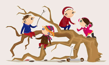 Cartoon illustration of some adventurous kids climb a tree and have fun
