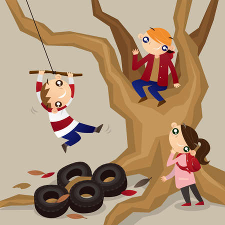 Cartoon illustration of some kids playing rope swing from a tall tree
