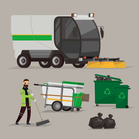 Vector graphic of road sweeper vehicle and street cleaner in UK