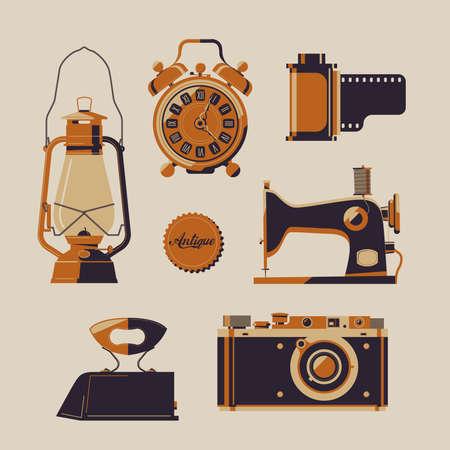 Vector set of vintage items: sewing machine, kerosine lamp, alarm clock, ancient iron, mechanical camera and film scroll.
