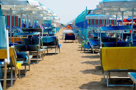 rimini: Rimini beach with umbrellas and sunbeds