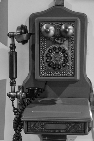 ancient telephone: Antiquated phone Stock Photo
