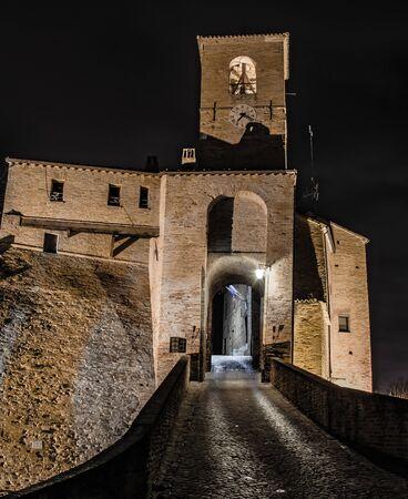rimini: View of castle Malatesta in Montegridolfo (Rimini), Italy. Editorial