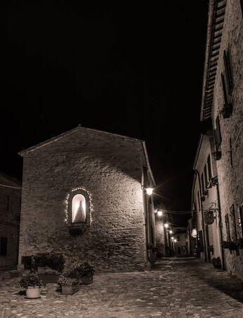 rimini: View of alley in Montegridolfo (Rimini). Italy. Stock Photo